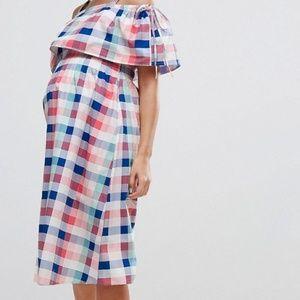 ASOS Maternity Off Shoulder Check Midi Dress